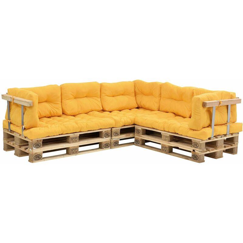 Coussins pour palettes - 11 pièces - coussin de siège + Coussins de dossier [moutard] Canapé de palettes In/Outdoor - Or