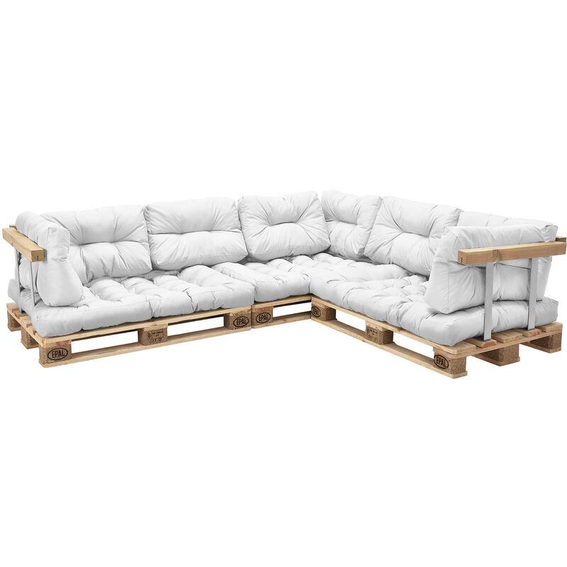 Coussins pour palettes - 11 pièces - coussin de siège + Coussins de dossier [blanc] Canapé de palettes In/Outdoor