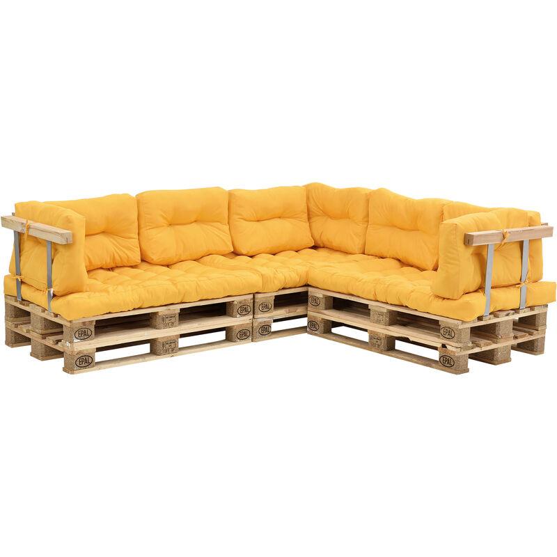 Coussins pour palettes - 11 pièces - coussin de siège + Coussins de dossier [moutard] Canapé de palettes In/Outdoor