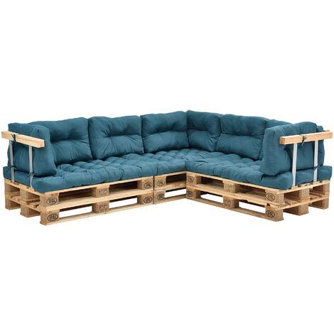 Coussins pour palettes - 11 pièces - coussin de siège + Coussins de dossier [turquoise] Canapé de palettes In/Outdoor