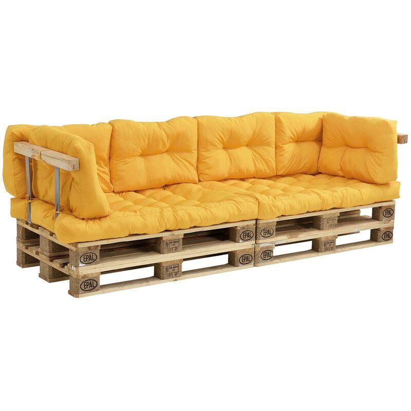Coussins pour palettes - 7 pièces - coussin de siège + coussins de dossier [moutard] canapé de palettes in/outdoor - Or