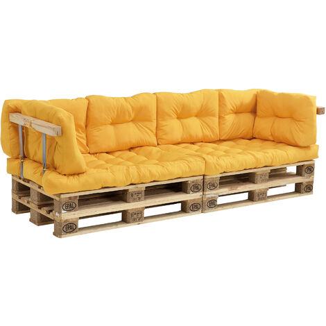 Coussins pour palettes - 7 pièces - coussin de siège + Coussins de dossier [moutard] Canapé de palettes In/Outdoor