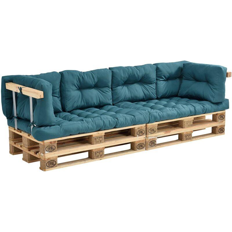 Coussins pour palettes - 8 pièces - coussin de siège + coussins de dossier [turquoise] canapé de palettes in/outdoor - Or