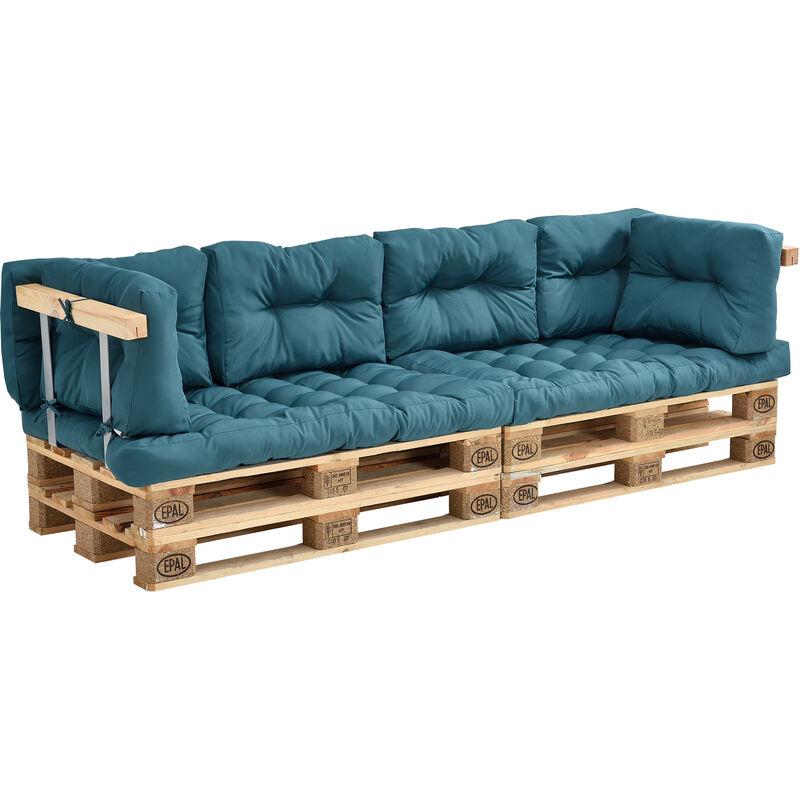 Coussins pour palettes - 8 pièces - coussin de siège + Coussins de dossier [turquoise] Canapé de palettes In/Outdoor