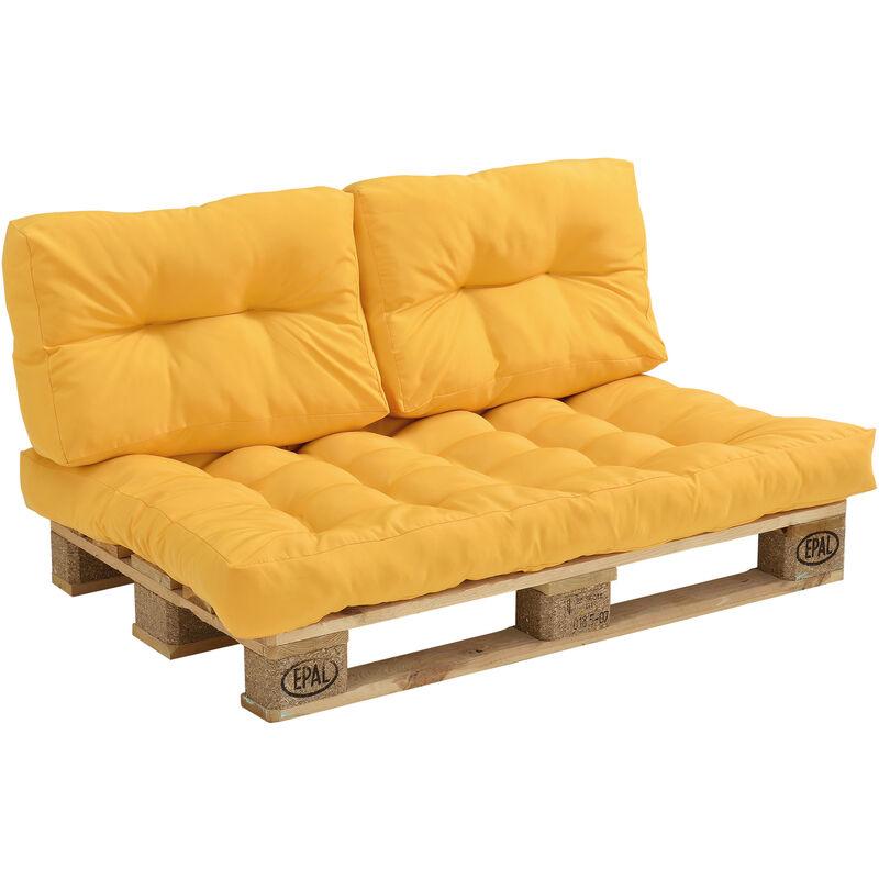 ] Coussins pour palettes - kit de 3 - coussin de siège + Coussins de dossier [moutard] Canapé de palettes In/Outdoor