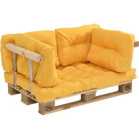 Coussins pour palettes - kit de 5 - coussin de siège + Coussins de dossier [moutard] Canapé de palettes In/Outdoor