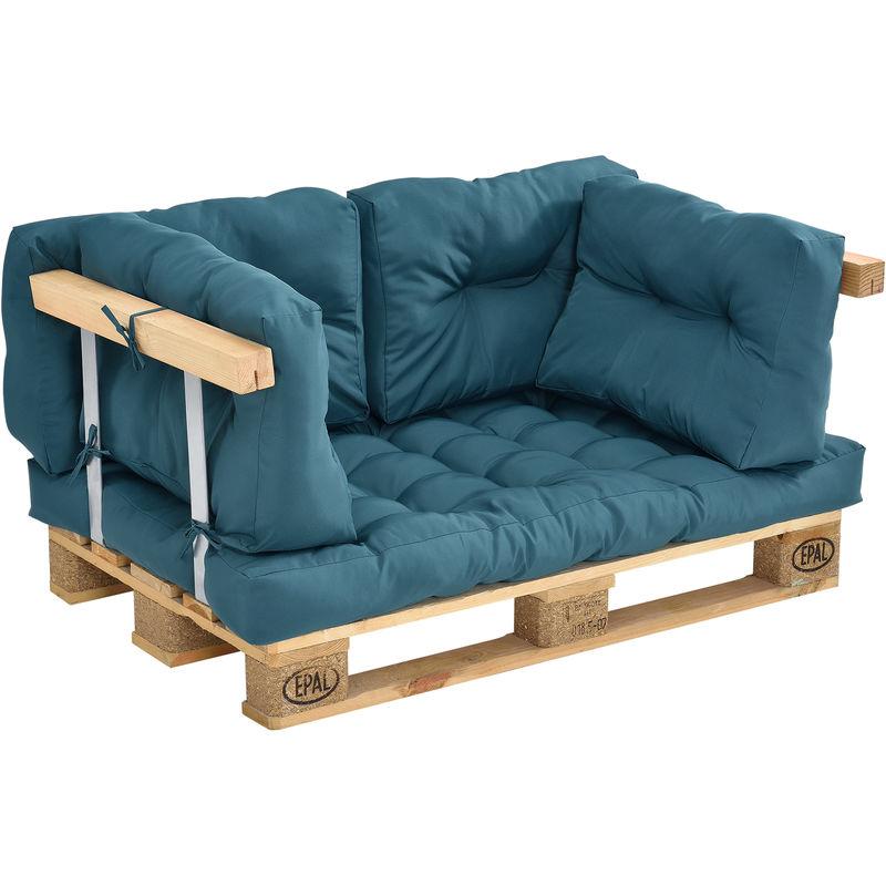 Coussins pour palettes - kit de 5 - coussin de siège + Coussins de dossier [turquoise] Canapé de palettes In/Outdoor