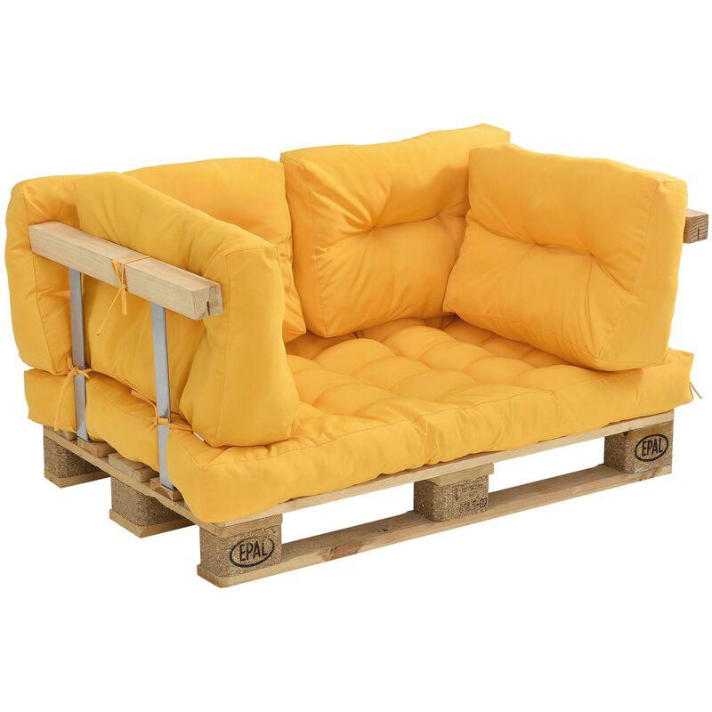 Coussins pour palettes - kit de 5 - coussin de siège + coussins de dossier [moutard] canapé de palettes in/outdoor - Or