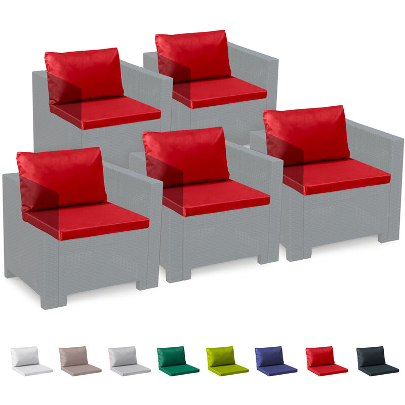 Coussins pour salon de jardin Rotin Bica Grand Soleil set rechange remplacement imperméables étanches 5 places | Rouge