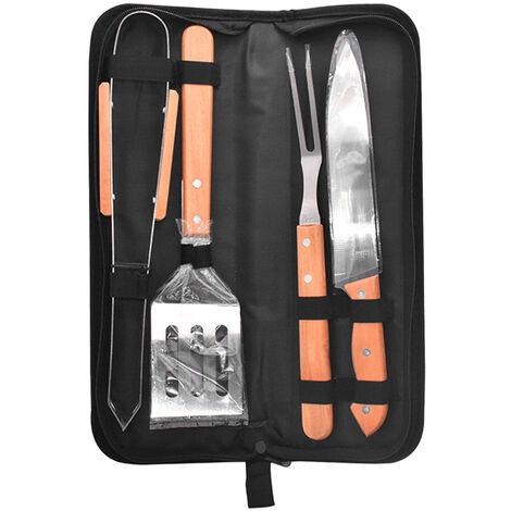 Couteau de barbecue de jardinage exterieur pour barbecue portable, ensemble de 4 pieces couleur bois + acier inoxydable
