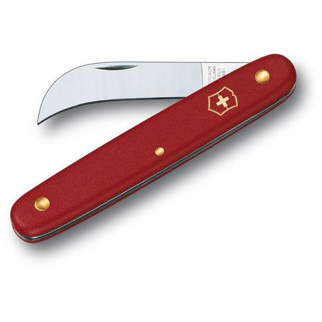 Couteau de jardinier suisse Victorinox rouge 3.9060 9,7 cm à lame incurvée idéal pour la taille dans les serres et les jardins.