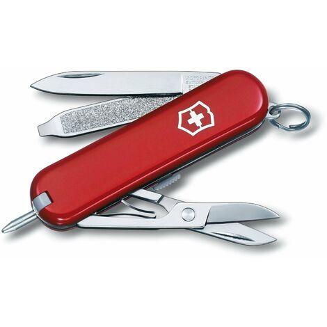 Couteau de poche Victorinox Signature, comprend un stylo et des ciseaux, 8 fonctions différentes, manche en ABS, disponible en variouscolours.