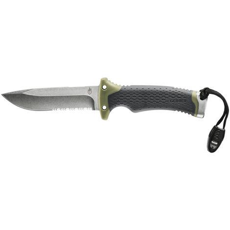 Couteau d'extérieur/de survie Gerber avec lame partiellement ondulée, Ultimate Survival Fixed, longueur de lame: 12cm, acier inoxydable, 30-001830