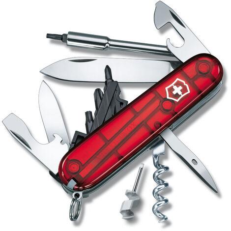 Couteau suisse de poche Victorinox Cyber Tool M 1.7725.T Red/Clear avec 34 fonctions.