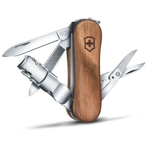Couteau suisse de poche Victorinox Nail Clip Wood 580 0.6461.63B1 avec 6 fonctions dont une lime à ongles et un coupe-ongles, présenté sous blister.