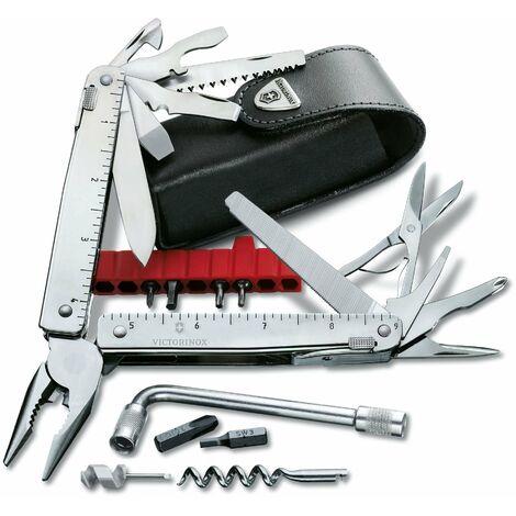 Couteau suisse Victorinox SwissTool X Plus, possède 37 fonctions, pratique et fonctionnel, avec étui en cuir, poids 290 gr, 3.0338.L