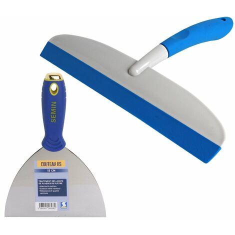 Couteau US à enduire Semin - 15 cm et une raclette à lisser Semin - 30 cm