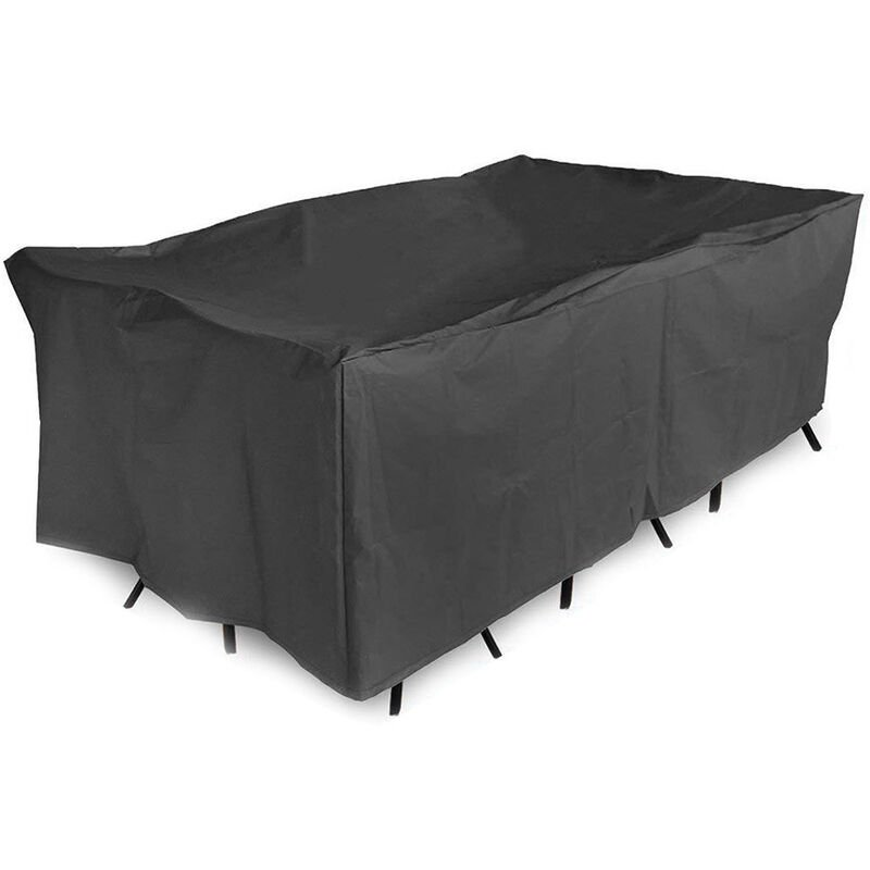 Couverture de meubles de patio exterieur impermeable coupe-vent resistant a la poussiere UV cordon de serrage Oxford canape table bancs chaises