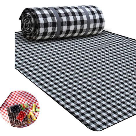 couverture de pique-nique 200 X 200 CM XXL 2-7 personnes couverture de plage imperméable couverture de camping tapis de taille familiale calorifuge pour pique-niques, repas en plein air, camping, plage