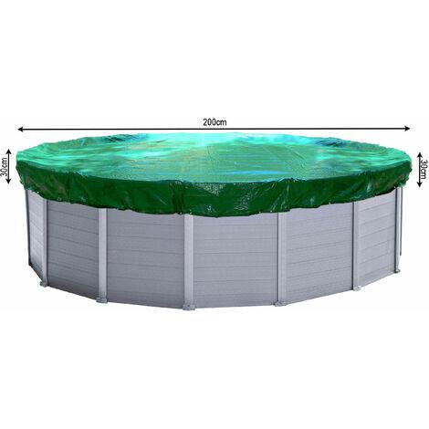 Couverture de piscine d'hiver ronde 180g / m² pour piscine de taille 160 - 200 cm Dimension bâche ø 260 cm Vert