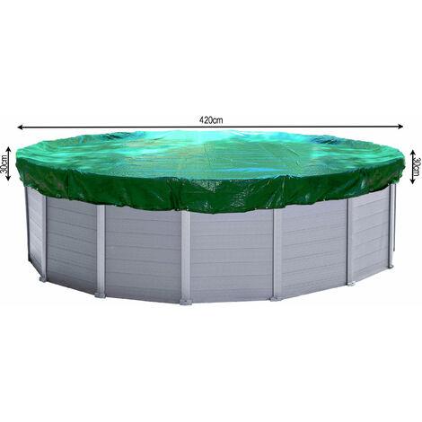 Couverture de piscine d'hiver ronde 180g / m² pour piscine de taille 380 - 420 cm Dimension bâche ø 480 cm Vert