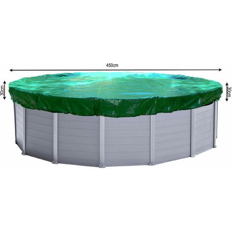 Couverture de piscine d'hiver ronde 180g / m² pour piscine de taille 410 - 450 cm Dimension bâche ø 510 cm Vert