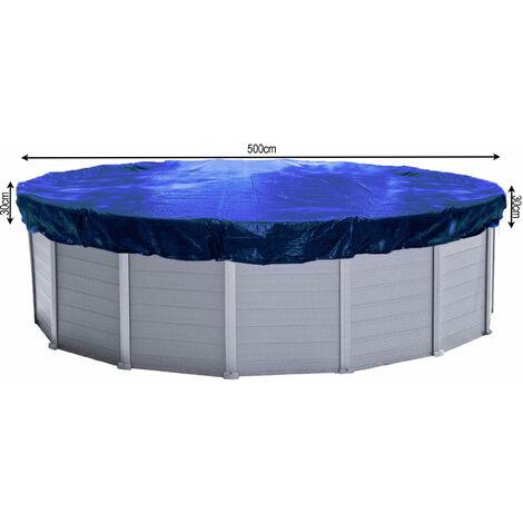 Couverture de piscine d'hiver ronde 200g / m² pour piscine de taille 460 - 500 cm Dimension bâche ø 560 cm Bleu