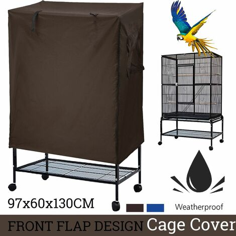Couverture de volière de grand oiseau perroquet Cage COUVERTURE IMPERMéABLE UNIQUEMENT, 97 CM X 60 CM X 130 CM HAUT (café)