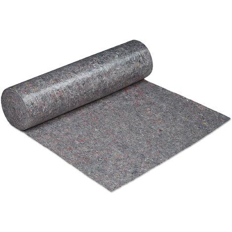 Couverture déménagement, 1x50 = 50 m, Rouleau protection sol 270 g/m² tapis travaux peinture, gris