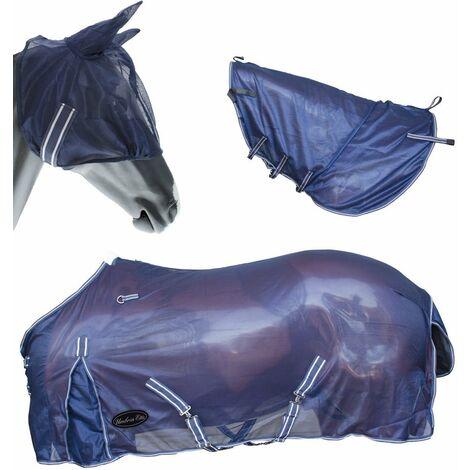Couverture en filet anti-puces Viana pour chevaux avec masque et couvre-cou AmaHorse