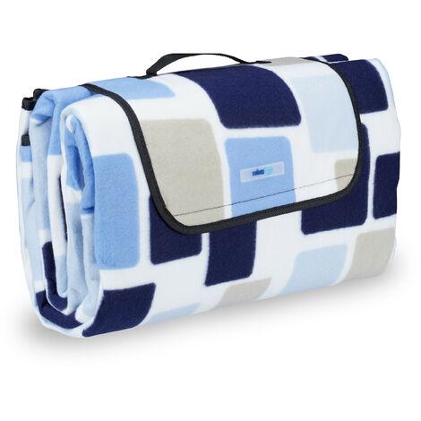 Couverture pique-nique picnic plaid imperméable 200x200 cm poignée isolation tapis, bleu-beige