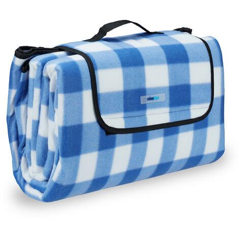 Couverture pique-nique picnic plaid imperméable 200x200 cm poignée isolation tapis, bleu-blanc