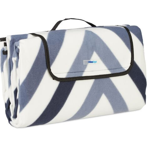 Couverture pique-nique XXL, 200x200 cm, tapis de plage polaire, isolant, imperméable, avec poignée, bleu/gris