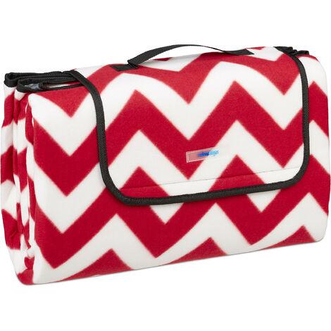 Couverture pique-nique XXL, 200x200, tapis de plage polaire, isolant, imperméable, avec poignée, rouge/blanc