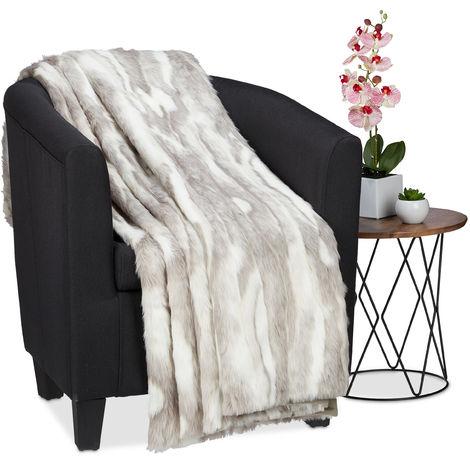 Couverture Plaid couvre-lit jetée de lit canapé fauteuil aspect poil fourrure lavable 220x240 cm, gris blanc