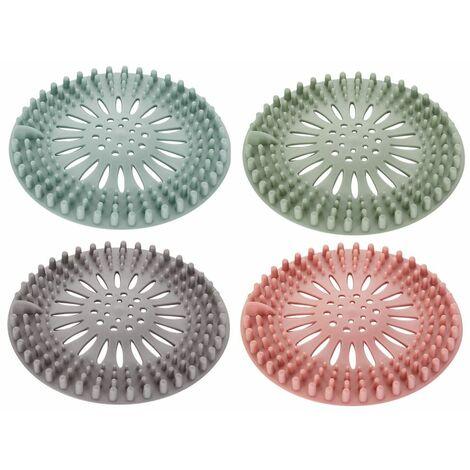 Couvertures de filtre de douche de bouchon de cheveux de silicone de capteur de cheveux pour la salle de bains, cuisine 4Pc Multicolore