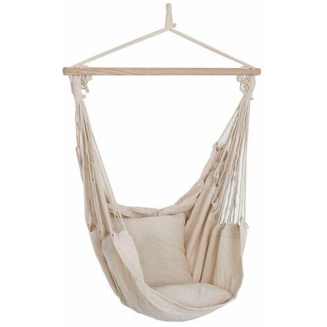 Couvertures de haute qualité suspendus fauteuil beige bois textile coton polyester beige Harms 507017