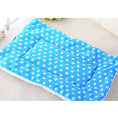 Couvertures pour Chien Chat Moelleux Coussins Chiot Tapis Lavable Petit Moyen Grand (L, Bleu)Étoiles bleues