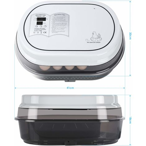 Couveuse Automatique de 18 œufs au plus Femor , Incubateur d'oeufs Transparent et Digital, Affichage et Contrôle de la température, pour Dinde/Oie/Oiseau/Caille/Poulet, Avec Instructions Multilingues