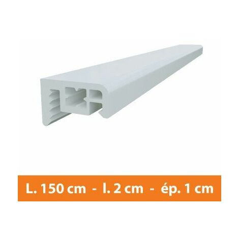 Couvre joint PVC Blanc - L.150 x l.2 x ép.1 cm - Blanc