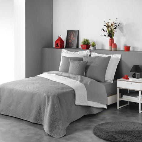 Couvre lit 220x240 cm microfibre bicolore cottage Anthracite/blanc