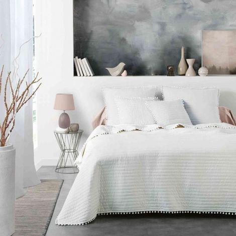 Couvre-lit à pompons Dorinette blanc 260x240 cm - Blanc