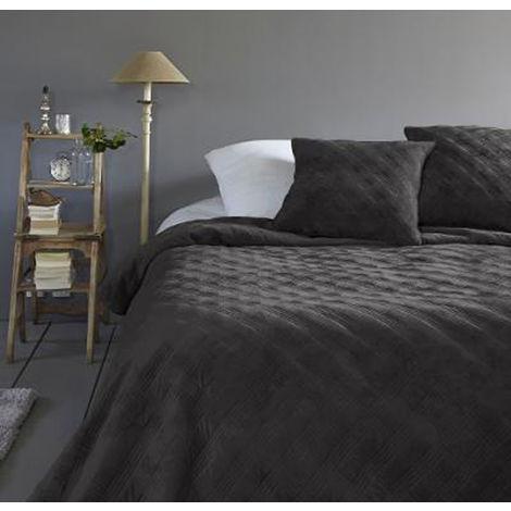 Couvre lit coloris gris foncé en polyester