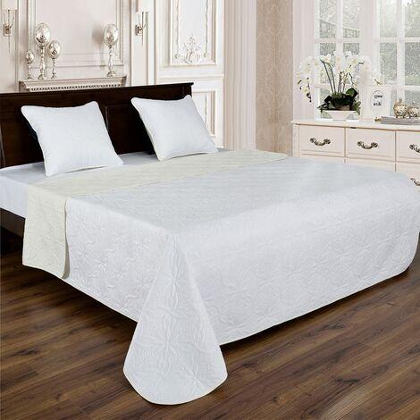 Couvre lit florale reversible - Blanc-Ecru