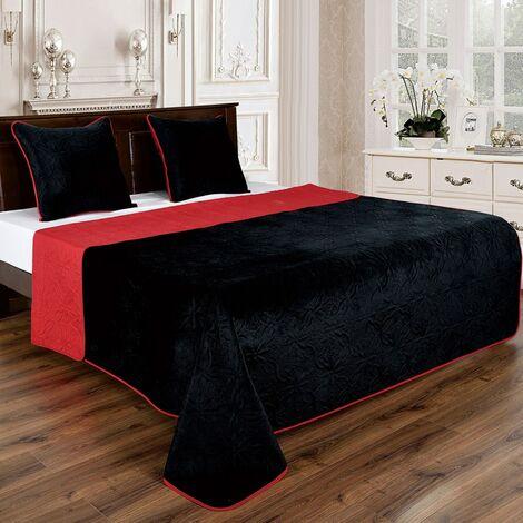 Couvre lit florale reversible - Noir-Rouge