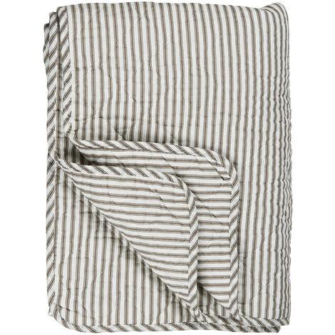 Couvre-lit matelassé à rayures couleur terre - Blanc