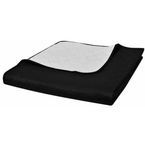 Couvre-lits à double côtés Noir/Blanc 170 x 210 cm