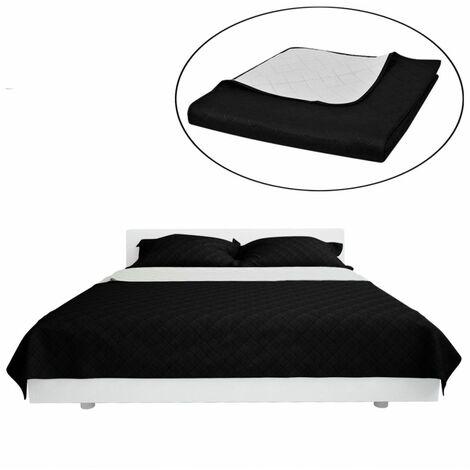 Couvre-lits à double côtés Noir/Blanc 220 x 240 cm,literie, couverture