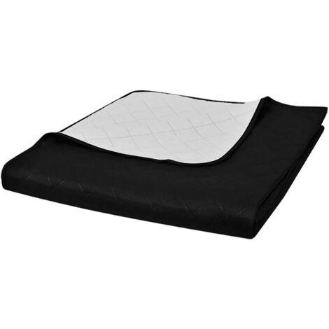 Couvre-lits à double côtés Noir/Blanc 230 x 260 cm,literie, couverture