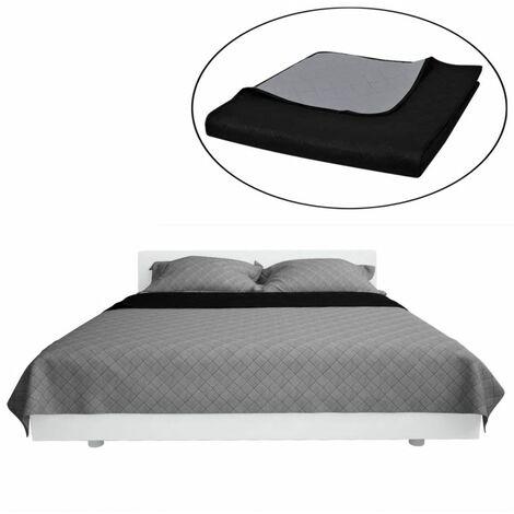 Couvre-lits à double côtés Noir/Gris 170 x 210 cm,literie, couverture